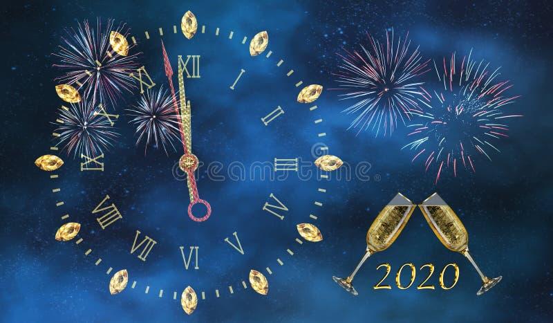 Nyårsblå bakgrund med fyrverkerier och midnattsklocka royaltyfri foto