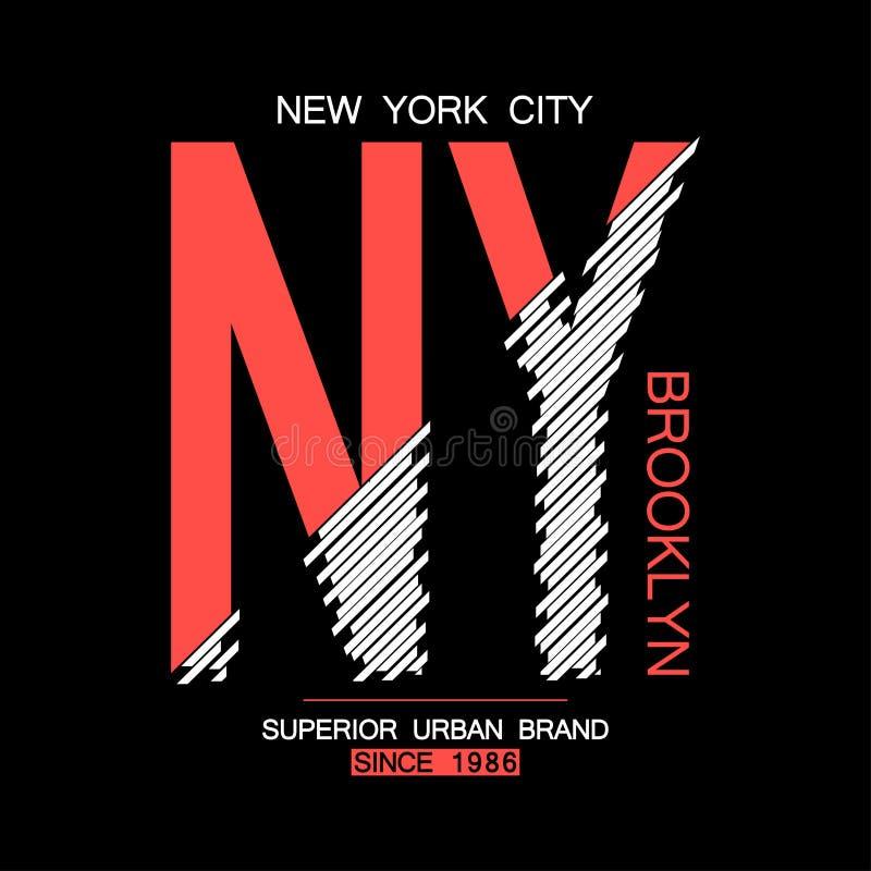 NY, оформление Бруклина современное для футболки Графики Нью-Йорка для футболки Печать одеяния городского бренда NYC ультрамодная иллюстрация вектора