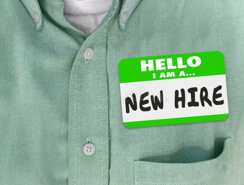 Ny anställd nya Talen för nybörjare för skjorta för gräsplan för hyraNametagklistermärke vektor illustrationer