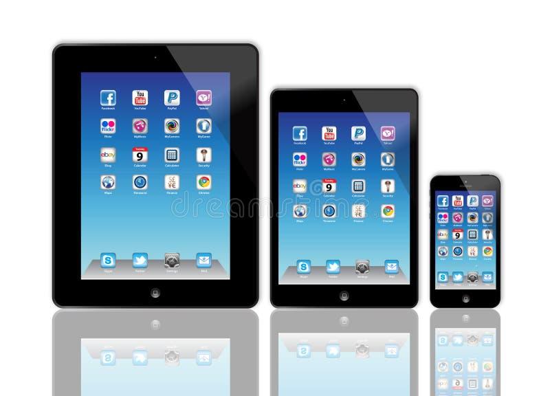 Ny Apple iPad och iPhone 5 royaltyfri illustrationer