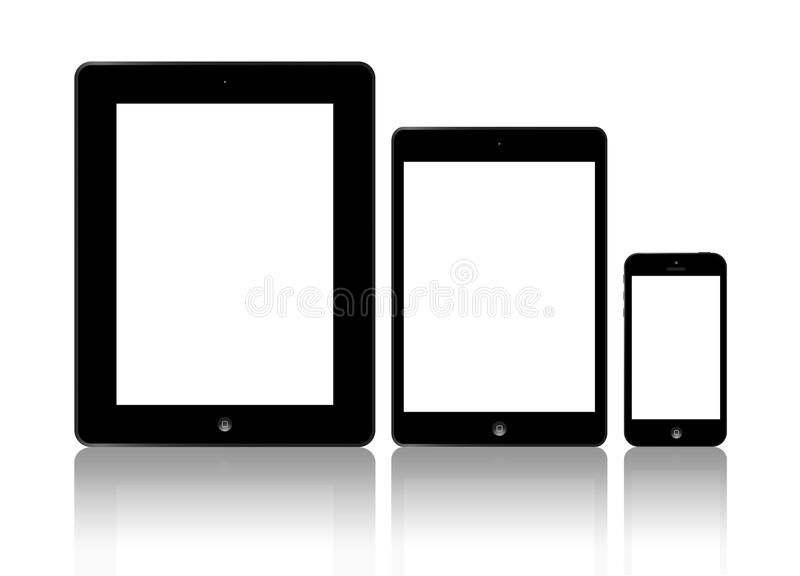 Ny Apple iPad och iPhone 5 stock illustrationer