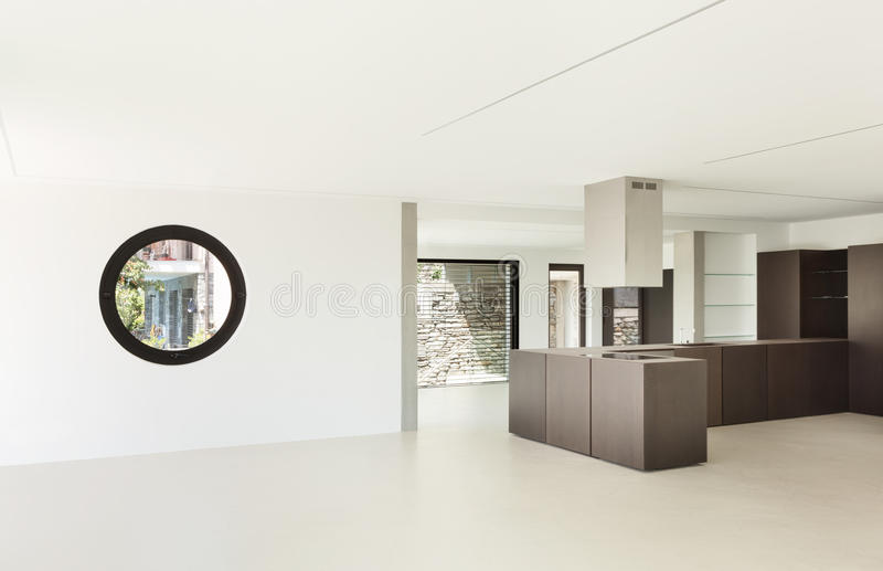 Ny arkitektur, modernt kök arkivbild
