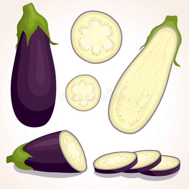 Ny aubergine för vektor Skivad, hel halv aubergine stock illustrationer