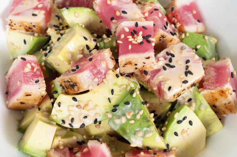 Ny avokado- och tonfisksallad royaltyfria foton