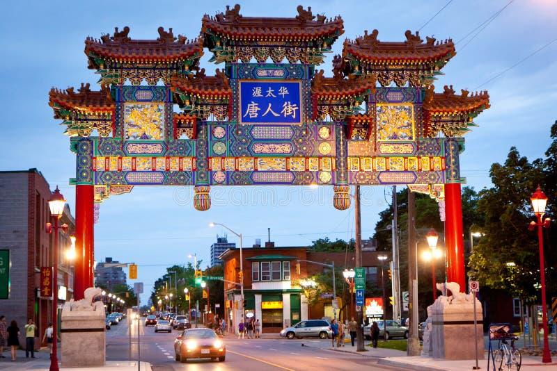 Ny båge för kineskvarteret, Ottawa Kanada royaltyfria foton