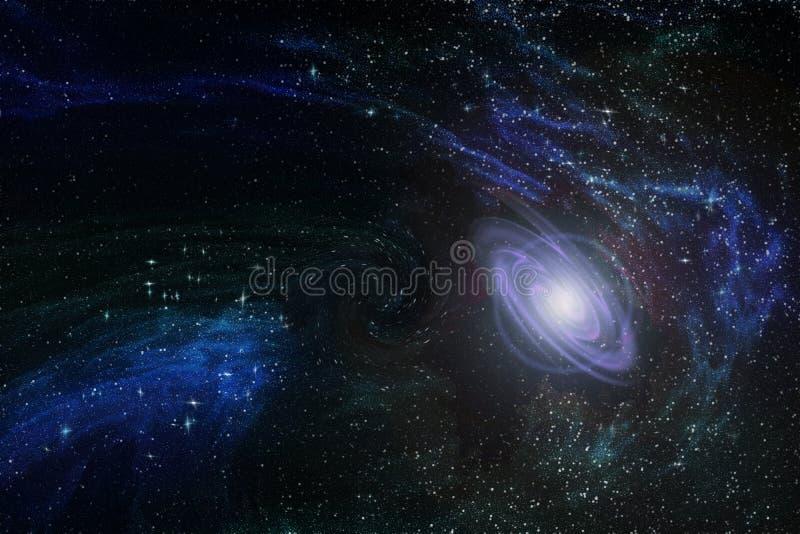 Ny begynnande galax i oändligt utrymme bland mångfärgade konstellationer och nebulosor, illustration stock illustrationer