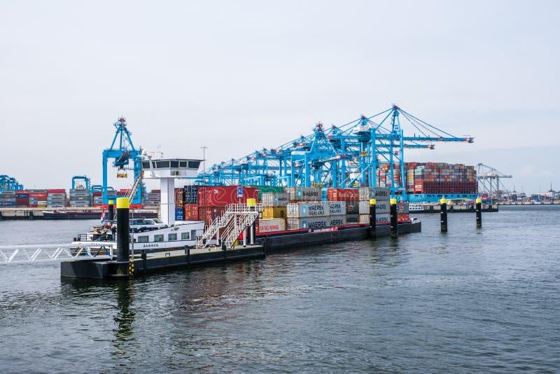 Ny behållareterminal med ett stort behållareskepp och i förgrunden ett mindre inlands- behållareskepp i porten av Rotterdam royaltyfri foto