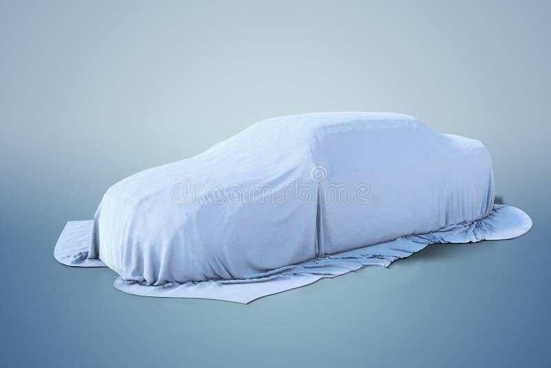 Ny bil som täckas med den vita torkduken framförd illustration 3d vektor illustrationer
