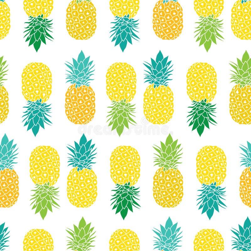 Ny blå för ananasvektor för gul gräsplan repetition sömlösa Pattrern i grå färg- och gulingfärger Utmärkt för tyg vektor illustrationer