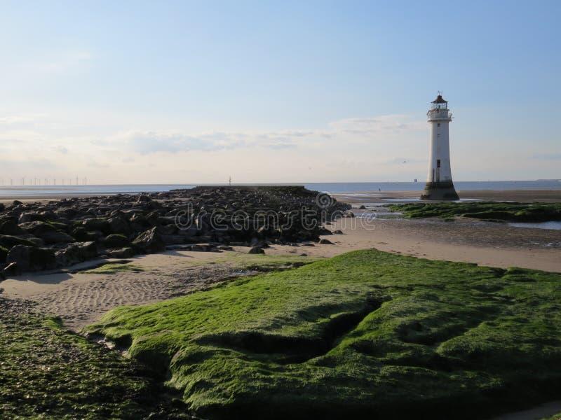 Ny Brighton kuster och fyr royaltyfria bilder