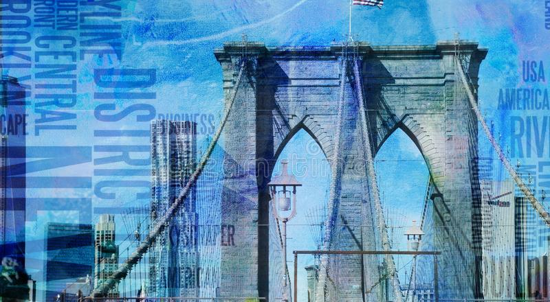 NY Brooklyn brug stock illustratie