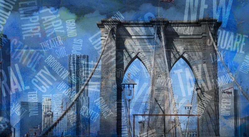 NY Brooklyn brug vector illustratie