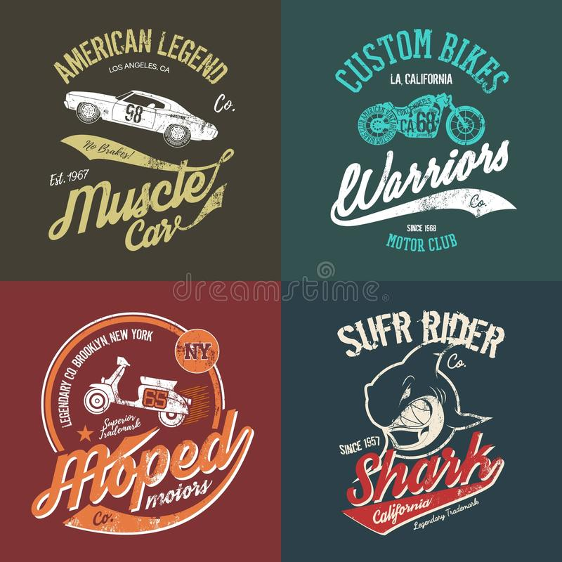 NY Brooklyn moped handmade t-shirt emblem. Vintage American muscle car and custom motorcycle motor club grunge t-shirt tee print vector artwork illustration set royalty free illustration