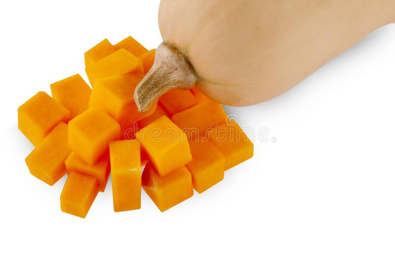 Ny butternutsquash som isoleras p? en vit bakgrund royaltyfri fotografi