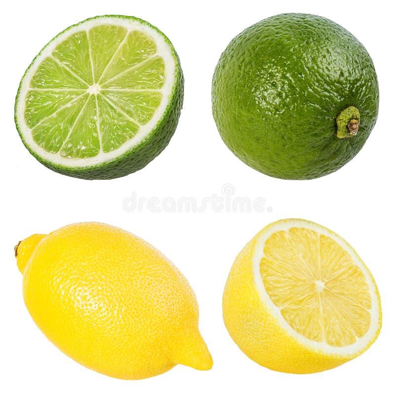 Ny citron och limefrukt som isoleras på vit arkivfoto
