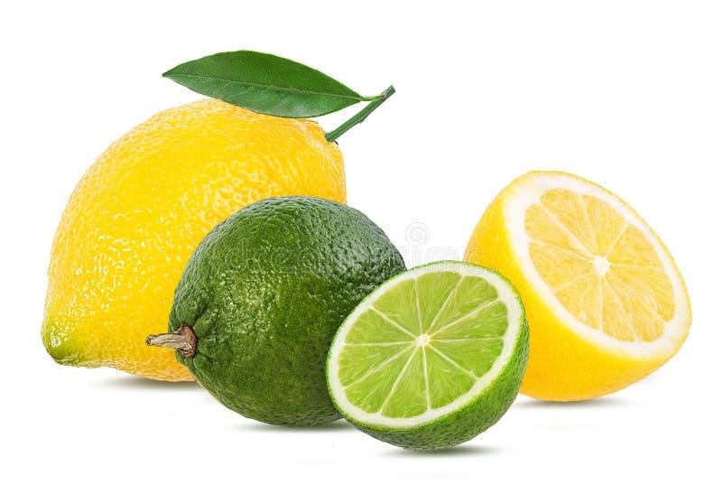 Ny citron och limefrukt som isoleras på vit arkivfoton