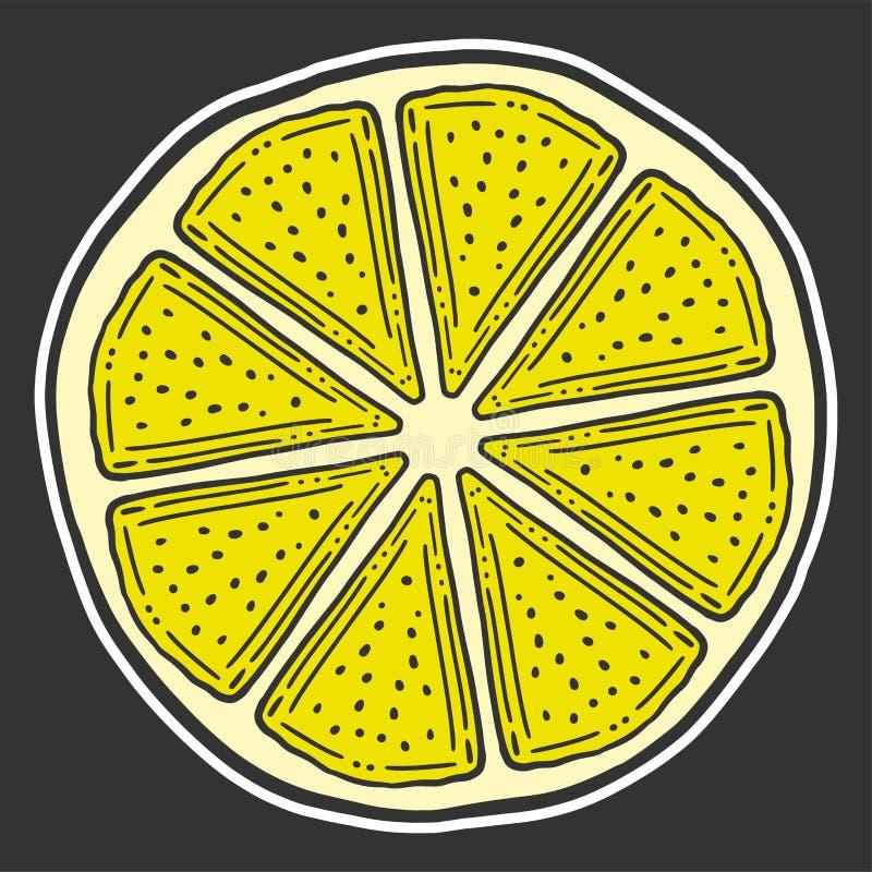 Ny citronskiva, halva av apelsinen Vektor i klotter och att skissa stil stock illustrationer