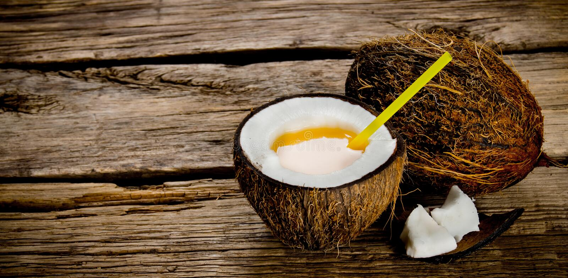 Ny coctail i kokosnötkopp arkivbilder