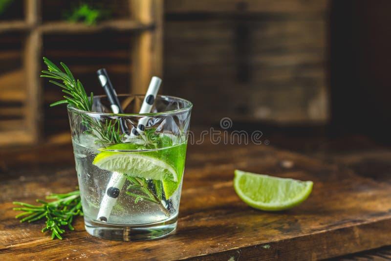 Ny coctail med limefrukt, is och rosmarin, mojitococtail royaltyfria foton