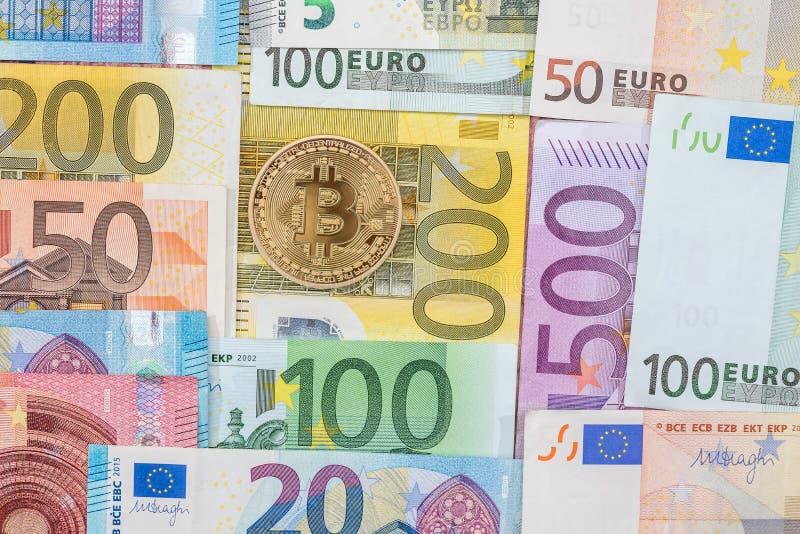 Ny crypto valuta p? eurosedel ?gander?tt f?r home tangent f?r aff?rsid? som guld- ner skyen till royaltyfri fotografi
