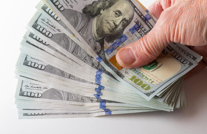 Ny design 100 dollarUSA-räkningar eller anmärkningar arkivfoto