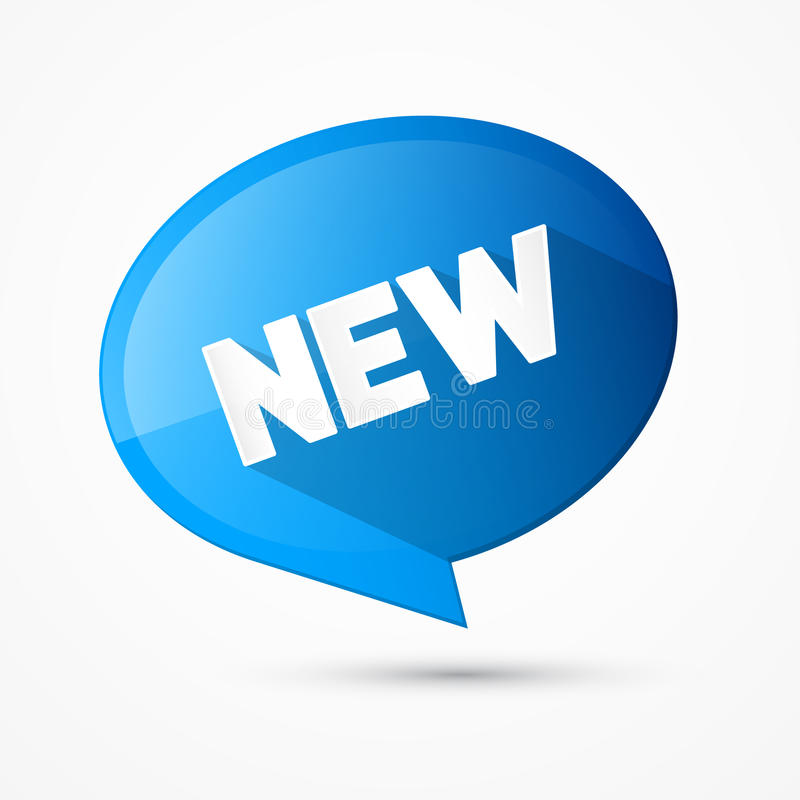 Ny etikett för blå rund vektor, etikett stock illustrationer