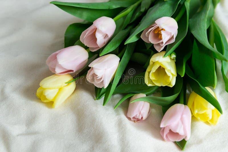 Ny färgrik bukett av rosa gula tulpan på beige tygbakgrund Mors dag, valentindag och lycklig f?delsedag arkivfoton