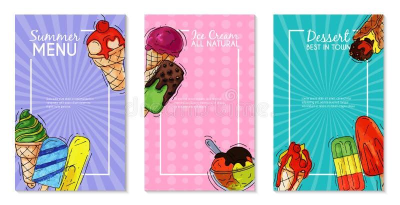 Ny för glasskortsommar naturlig och kall söt matvektorillustration Hemlagat smakligt mejeri för sund menydesign royaltyfri illustrationer