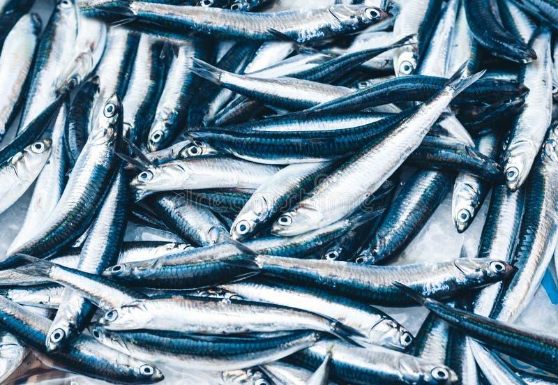 Ny fisk som är till salu i fiskmarknaden Pescheria av Catania, Sicilien, Italien arkivfoto