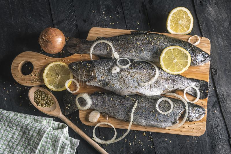 Ny fisk som kryddas med örter och citroner arkivfoto