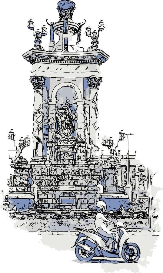 Ny framsida av den forntida staden Vektorn för två färg skissar illustrationen royaltyfri fotografi