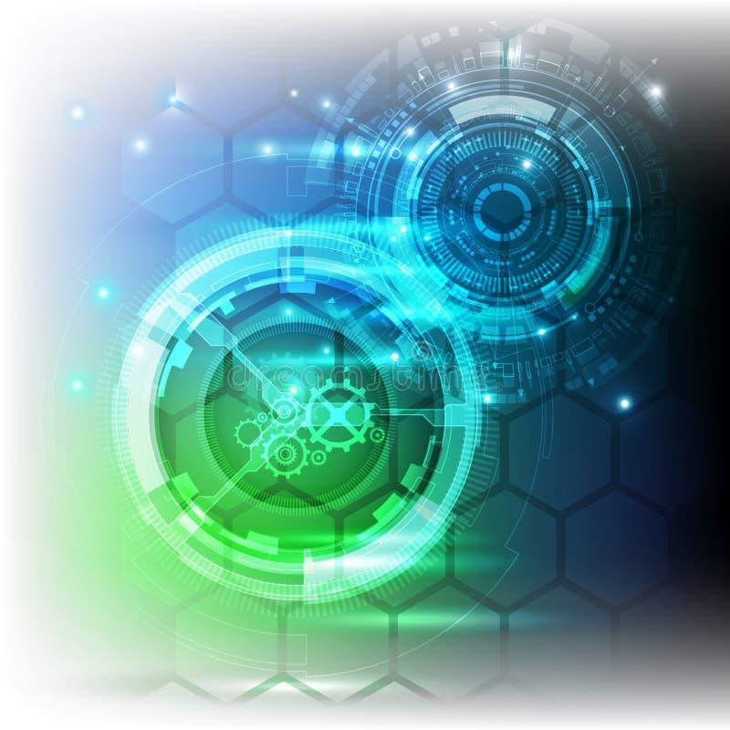 Ny framtida bakgrund för teknologibegreppsabstrakt begrepp för affärslösning stock illustrationer