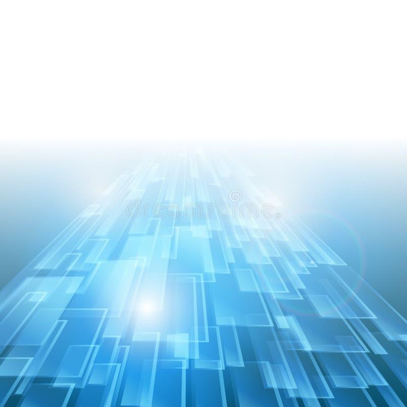 Ny framtida begreppsbakgrund för abstrakt blå teknologi royaltyfri illustrationer