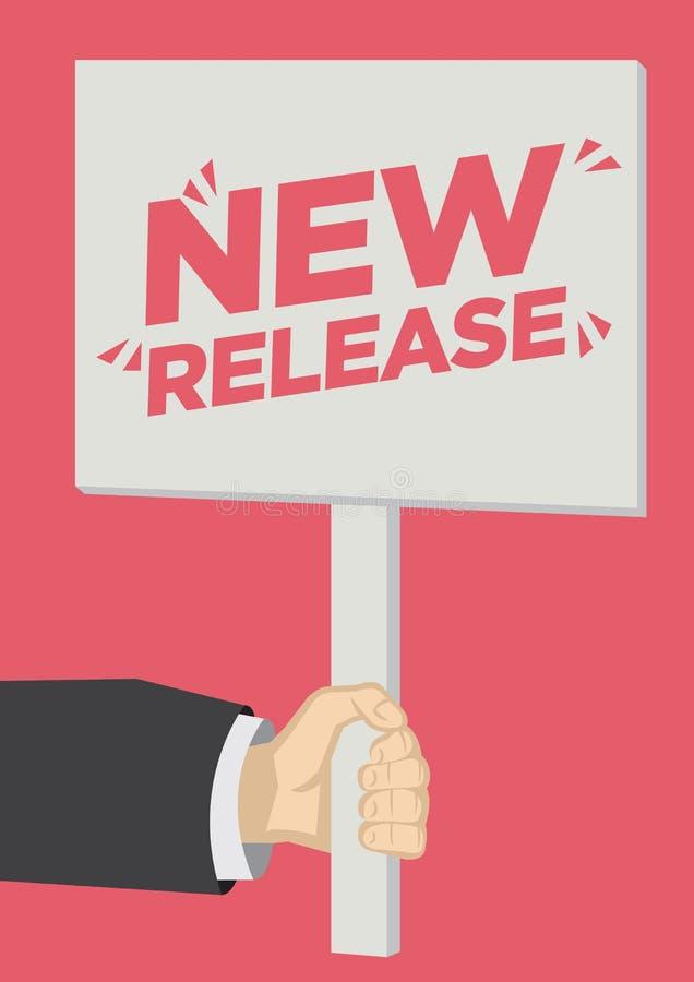 Ny frigörarshoutout för detaljhandelsrea med ett plakatbaner mot en röd bakgrund royaltyfri illustrationer