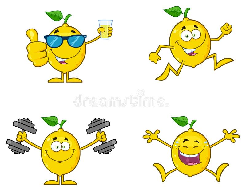 Ny frukt för gul citron med grönt tecken 4 för bladtecknad filmmaskot Ställ in samlingen stock illustrationer