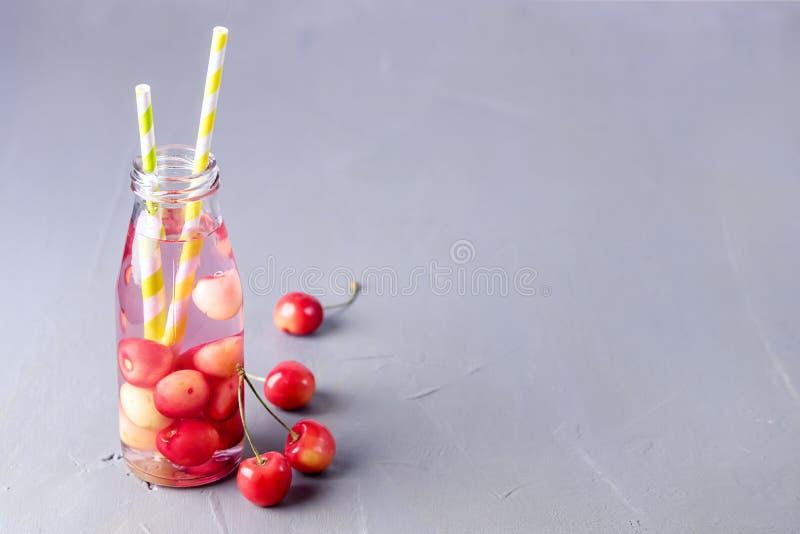 Ny frukt ingav den organiska Detoxdrinken för vatten som den sunda livsstilbantningen bantar lemonad för den kalla drinken för be arkivfoto