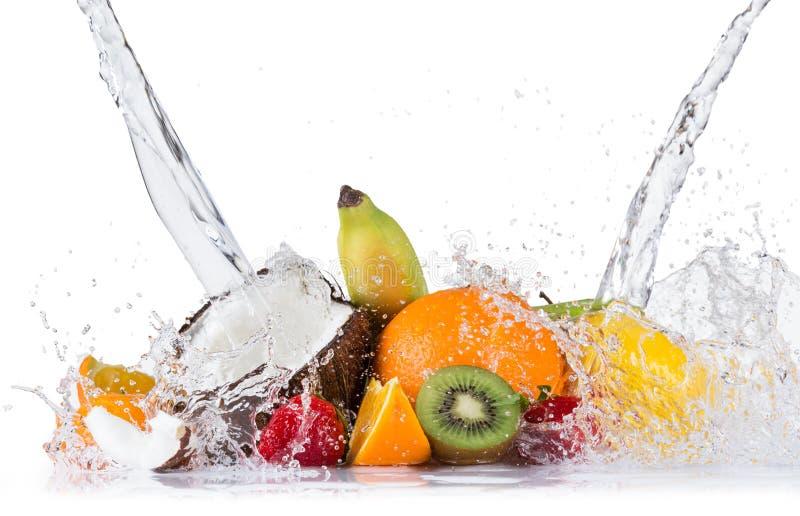 Ny frukt med vattenfärgstänk royaltyfri fotografi