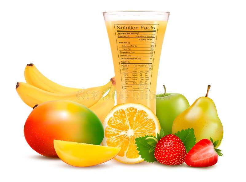 Ny frukt och ett exponeringsglas av fruktsaft med en näring  royaltyfri illustrationer