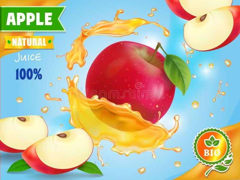 Ny fruktsaft för rött äpple som advetising också vektor för coreldrawillustration vektor illustrationer