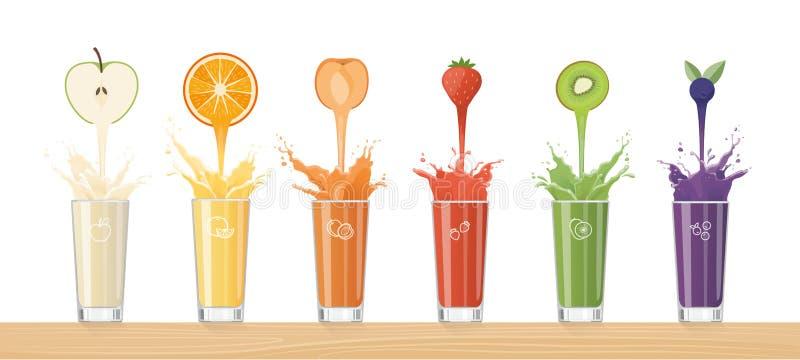 Ny fruktsaft som häller från färgrika frukter royaltyfri illustrationer