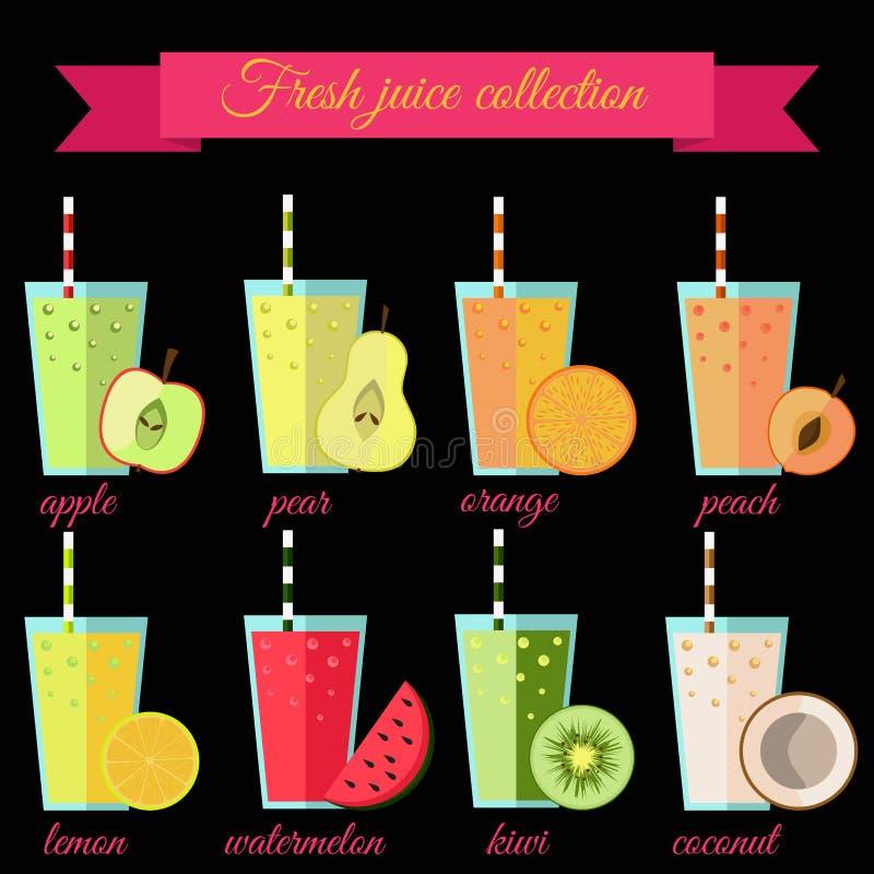 Ny fruktsaftuppsättning vektor illustrationer