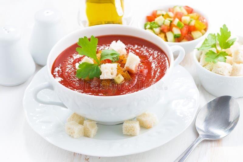 ny gazpacho i en bunke royaltyfria foton