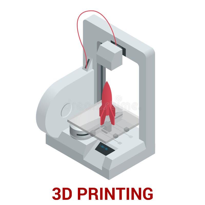 Ny generation av maskinen för printing som 3D skrivar ut en modell av plast- royaltyfri illustrationer