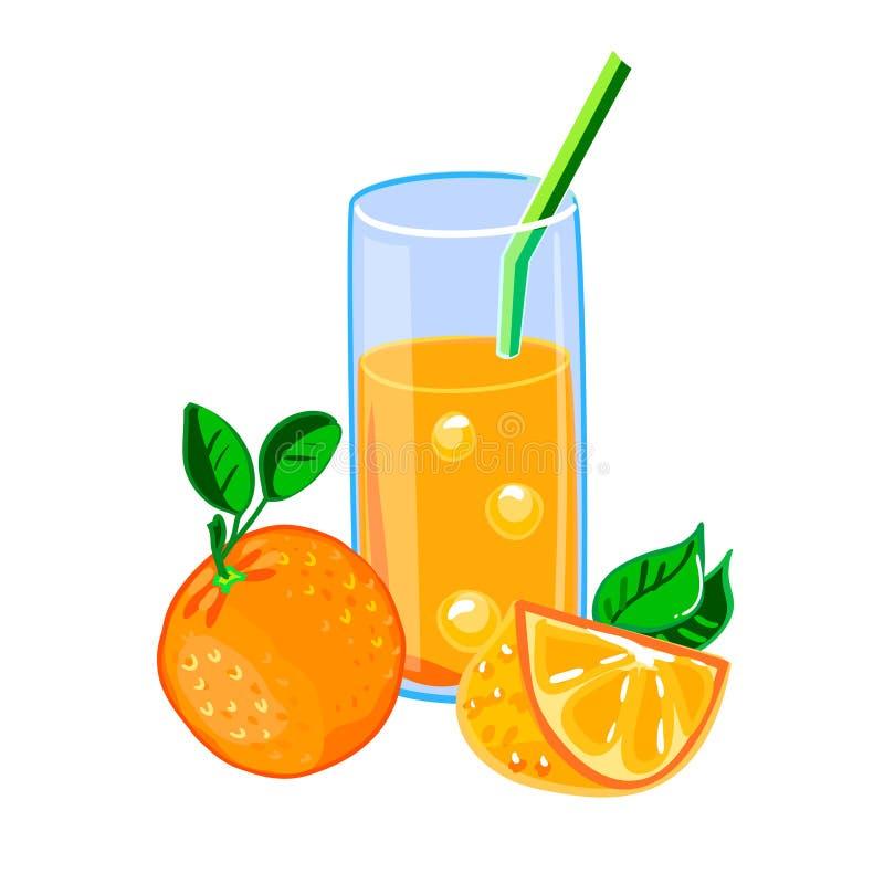 ny glass fruktsaftorange royaltyfri illustrationer