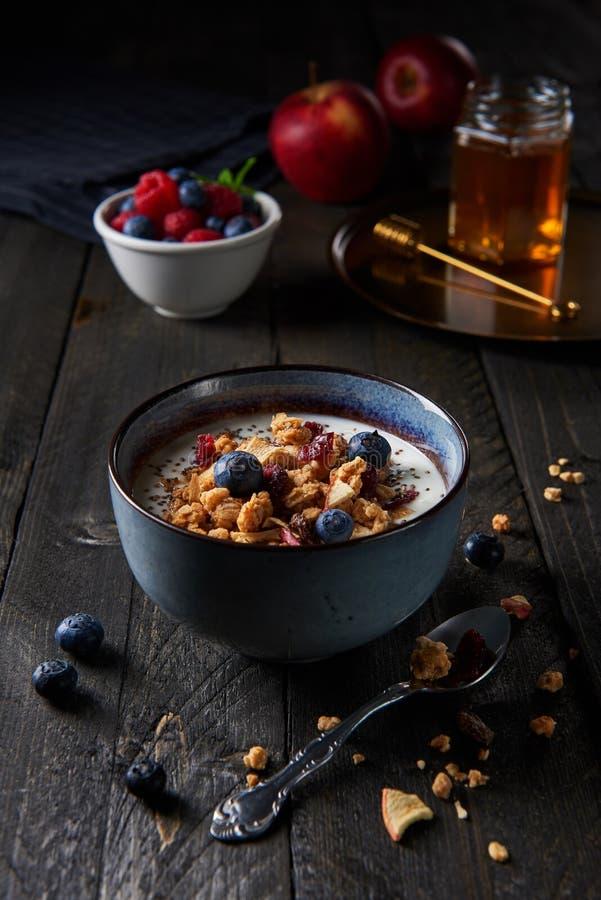 Ny granola för sund frukost, mysli med yoghurten, blueberrie arkivbild