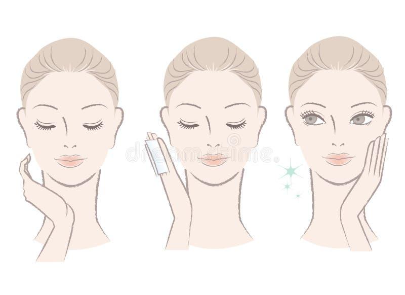 Ny gullig kvinna som applicerar ansikts- lotion stock illustrationer