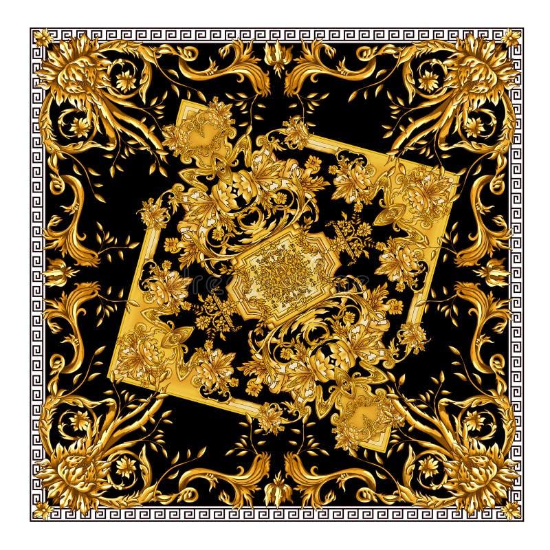 Ny härlig halsdukdesign Guld- baroq i svart bakgrundsmodell stock illustrationer