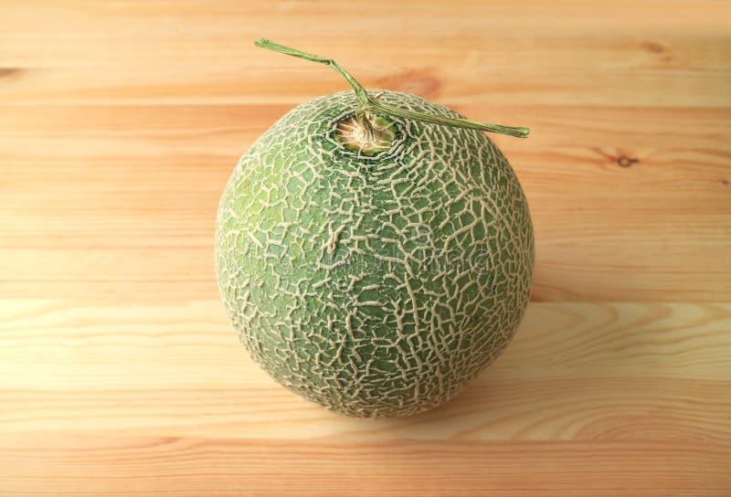 Ny hel frukt för muskmelon- eller cantaloupmelonmelon med stammen royaltyfri bild
