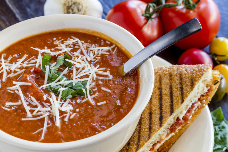 Ny hemlagad tomatsoppa royaltyfri bild