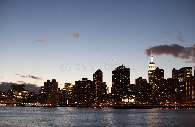 ny horisont york för skymning royaltyfri foto